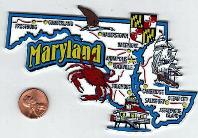 Maryland Md State Jumbo  Map  Magnet   7 Color  Annapolis, Baltimore, Ocean City