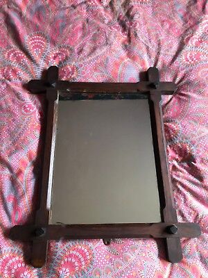Antique Victorian Wooden Oxford Cross Frame Mirror