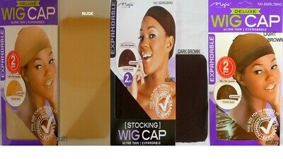 2 pcs EXPANDABLE STOCKING WIG CAP ULTRA THIN INVISIBLE WITH ELASTIC BAND DARK BR