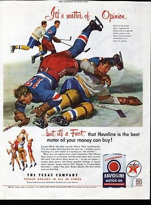 1952 Texaco Havoline Motor Oil Hockey Game & Basketball Ad