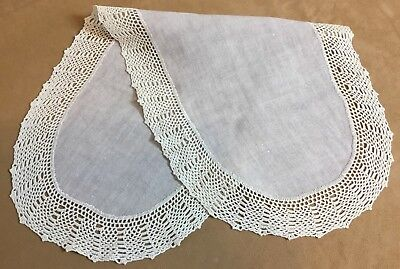 Antique Rectangle Large Doily, Dresser Scarf, Ecru With Crocheted Lace Edges