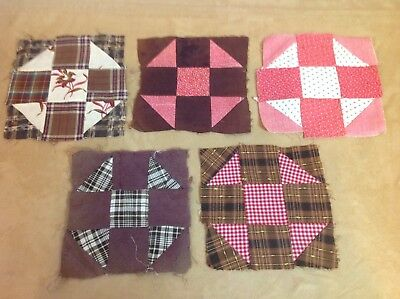 Five Antique Quilt Blocks, Nine Patch, Triangles, Patchwork, Hand Sewn, Early