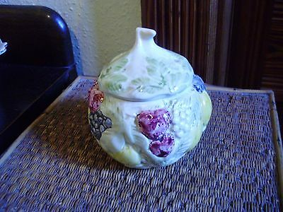 Toni Raymond Pottery Handpainted Lidded Pot With Fruits