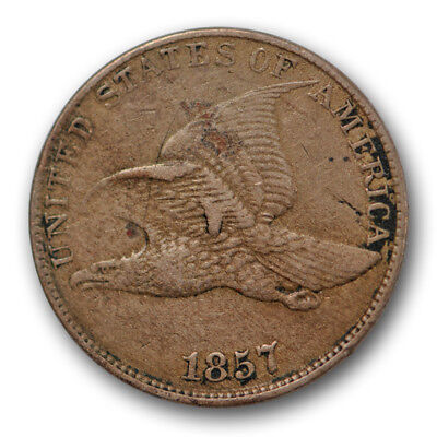 1857 Flying Eagle Cent Very Fine to Extra Fine US Coin Internal CUD #10329