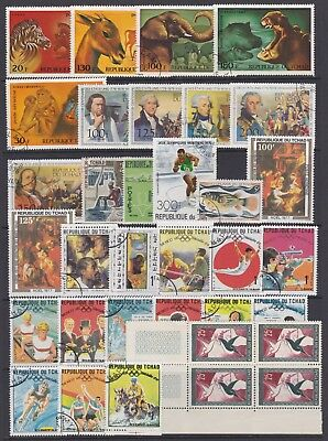CHAD - Selection of used stamps (odd mint) on stock page, as scan. Ref F107