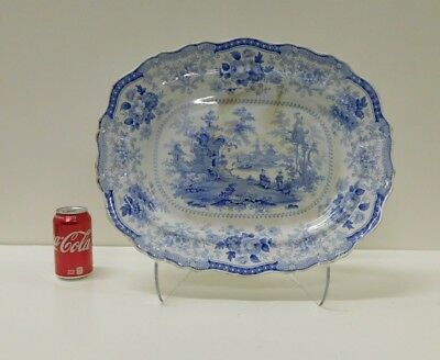MASSIVE Antique 1830s FAIRY VILLAS Staffordshire Transferware Platter 17 1/2 X