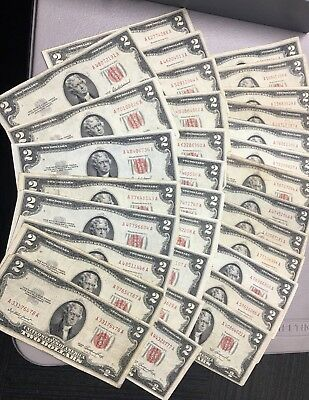 Lot Of (32) 1953 $2 Red Seal Notes E-95