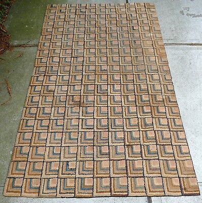 Large Antique 19th Century Log Cabin Hooked Rug Needs Some Repair Free Shipping