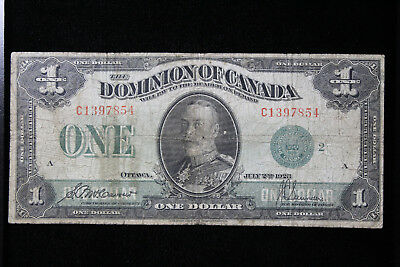 1923 Dominion of Canada $1 Green Seal McCouver-Sanders C Series VG 8171