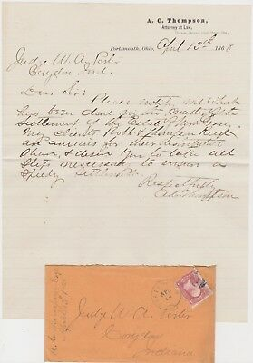 1868 Letter - Albert C. Thompson - U.s. Congress - Portsmouth Oh - Early Als