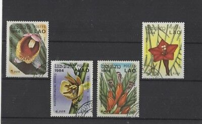 Laos ' Woodland Flowers ' 1984 4 Used ( Please See Descr. )...