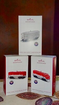 New in Boxes, Set of Three 2018 Hallmark Lionel Train Ornaments