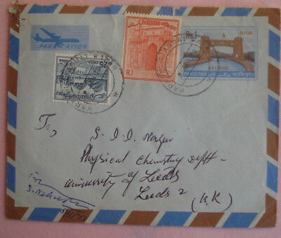 Pakistan Air Mail Cover to UK with 2 stamps + 1 printed stamp (1973)
