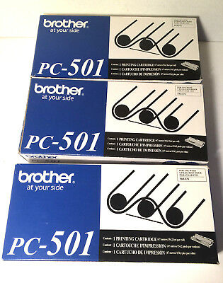 3 Brother PC-501 OEM Fax Cartridge with Roll for FAX 575 Fax printers