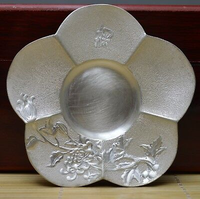 2.5 Oz Purity 999 Pure Silver Solid Hand Made Chrysanthemum Tray Plate Signed