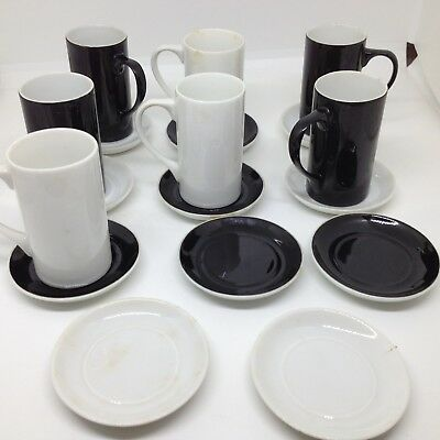 Schmid Tackett porcelain Demitasse Expresso Cups with Saucers Black White Set