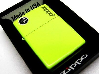 Zippo Neon Yellow Matte With Logo Windproof Lighter 28887Zl