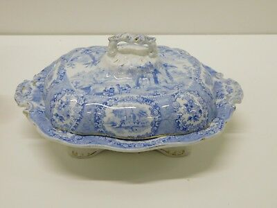 ANTIQUE Ridgways Oriental Blue Staffordshire Transferware Covered Vegetable Dish