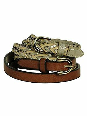 $34 Style & Co. Set of 2 Skinny Belts Gold/Brown Sz Large