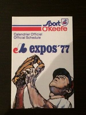 1977 Montreal Expos Pocket Schedule Mint O'keefe ***first Season At Big Owe***