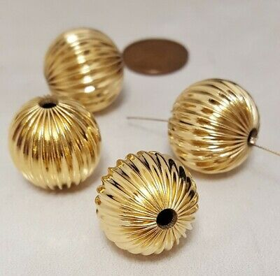 6 VINTAGE GOLD PLATED BRASS METAL CORRUGATED 19mm. ROUND BEADS N330