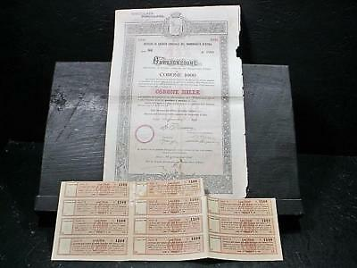 NobleSpirit NO RESERVE (GC4) 1910 Italian Credit Institute Stock Bond Cert.!