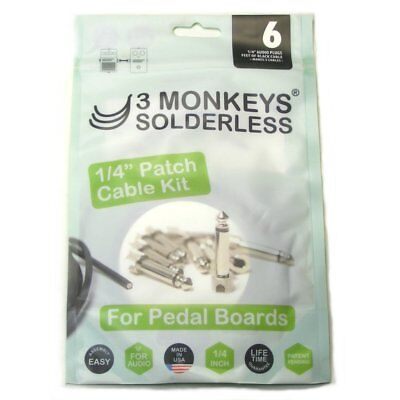 3 Monkeys Solderless Pedalboard Audio Patch Cable/lead Kit