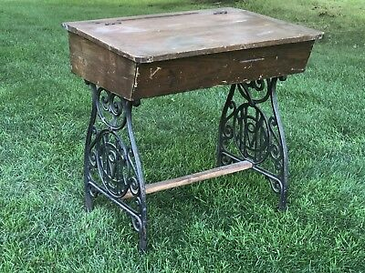 Antique Desk With Ornate Cast Iron Legs