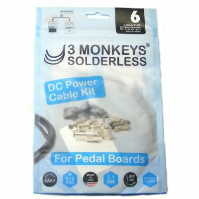 3 Monkeys Solderless Pedalboard DC Power Patch Cable/lead Kit