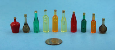 Set of 10 Dollhouse Miniature Assorted Plastic Liquor/Wine Bottles #WCKA312C