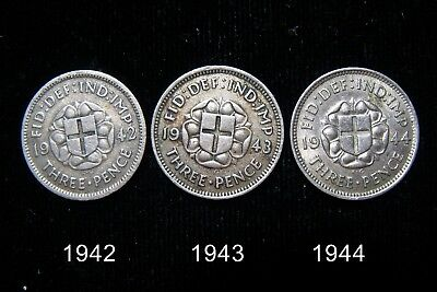 Lot Of 3 1942-1944 Great Britain George Vi 50% Silver Three Pence