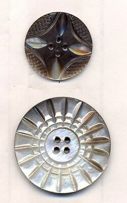 2 Exquisite Carved Pearl Buttons, Lrg