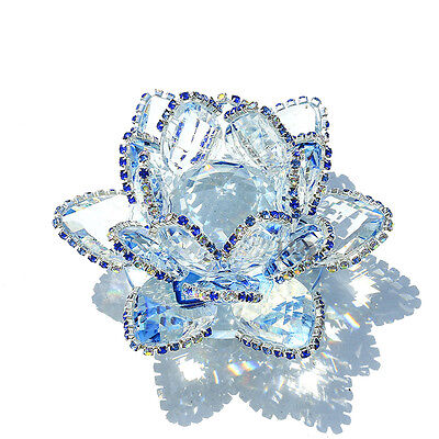 H&D Sparkle Blue Crystal Lotus Flower Feng Shui Home Decor with Gift Box.4-inch