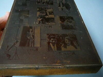 Vintage Wood Copper Printing Block Plate of 8 different photo's