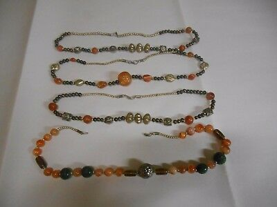 Vintage Lot Of 4 Brass Marble Art Glass Necklaces