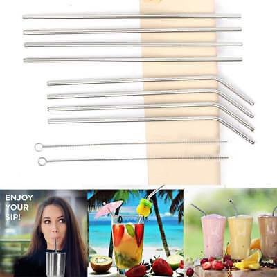 "Stainless Steel Reusable Drinking Straws FDA-Approved 8 Set 10.5"" Long + Brush"
