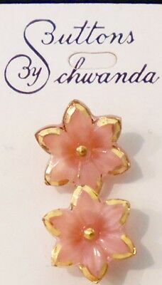 1930s Art Deco 5 Tiny PINK GLASS FLOWER Buttons on Card~Germany~Trimmed in Gold