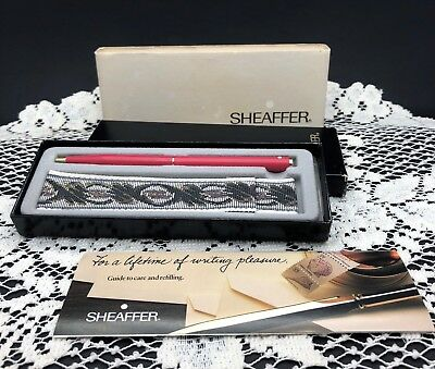 Sheaffer White Dot Pink Pen with Material Case - Mint in original box & papers