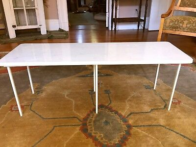 Mid Century Modern Coffee Table White Marble Top Steel Stand