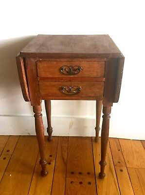 Primitive Early American Antique 2 Drawer Side Table~drop sides