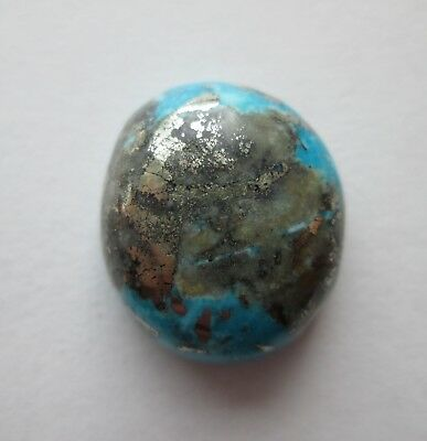 28.10 ct. Stabilized Persian Turquoise Cabochon Gemstone with Pyrite, 1AV 071