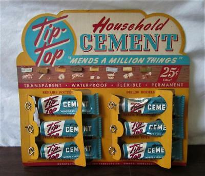 1960's VINTAGE NOS 1963 TIP TOP HOUSEHOLD CEMENT GLUE STORE DISPLAY