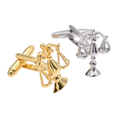 Justice Libra Cufflinks Elegant Silver Golden Jewelry for Attorney Lawyer Gifts
