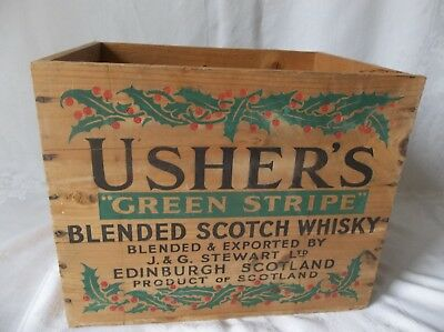 Rare Vintage Usher's Green Stripe Blended Scotch Whiskey Wood Box Crate