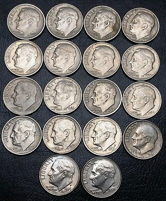 Lot of 18 Roosevelt Dimes - Great Condition - Date Range: 1965 - 1995