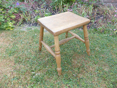 Vintage Oblong Top Elm and Beech Stool on Turned Straight Legs