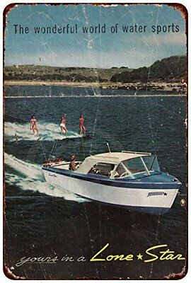 "Lone Star Boat Water Sports Rustic Retro Metal Sign 8"" x 12"""