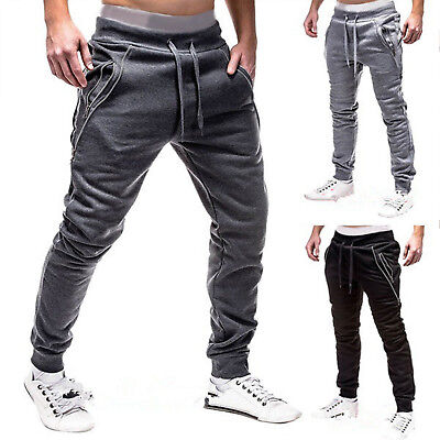 Mens Gym Slim Fit Trousers Tracksuit Bottoms Skinny Sports Zip Sweat Track Pants