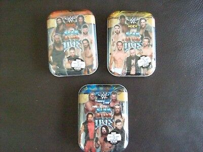 3 X Topps WWE Slam Attax Live Trading Cards Mini Tins 44 + 1 Limited Edition
