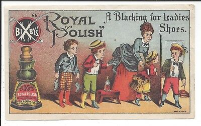 Colorful Adv Flyer, Bixby's Royal Polish Blacking for Ladies Shoes, 1880s